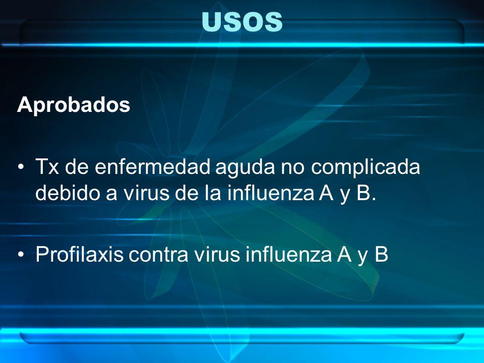 USOS Aprobados. Tx de enfermedad aguda no complicada debido a virus de la influenza A y B.