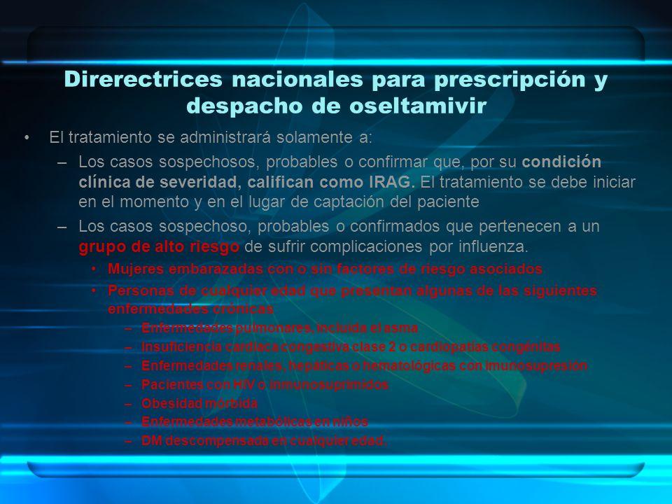 Direrectrices nacionales para prescripción y despacho de oseltamivir