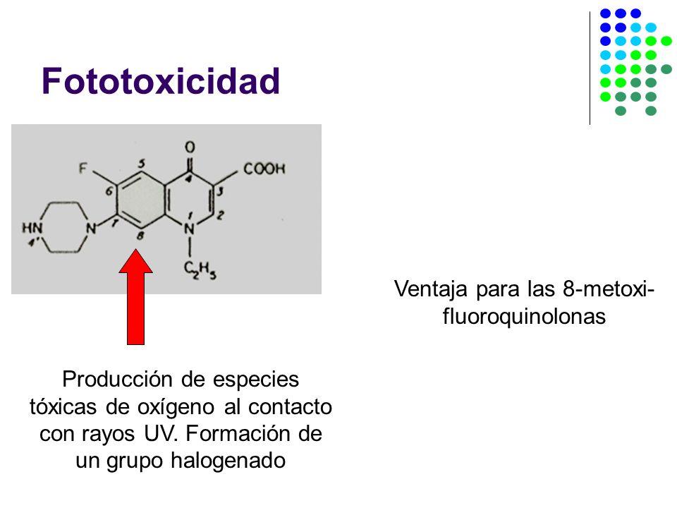 Ventaja para las 8-metoxi-fluoroquinolonas