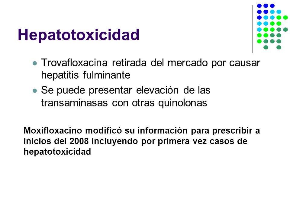 Hepatotoxicidad Trovafloxacina retirada del mercado por causar hepatitis fulminante.