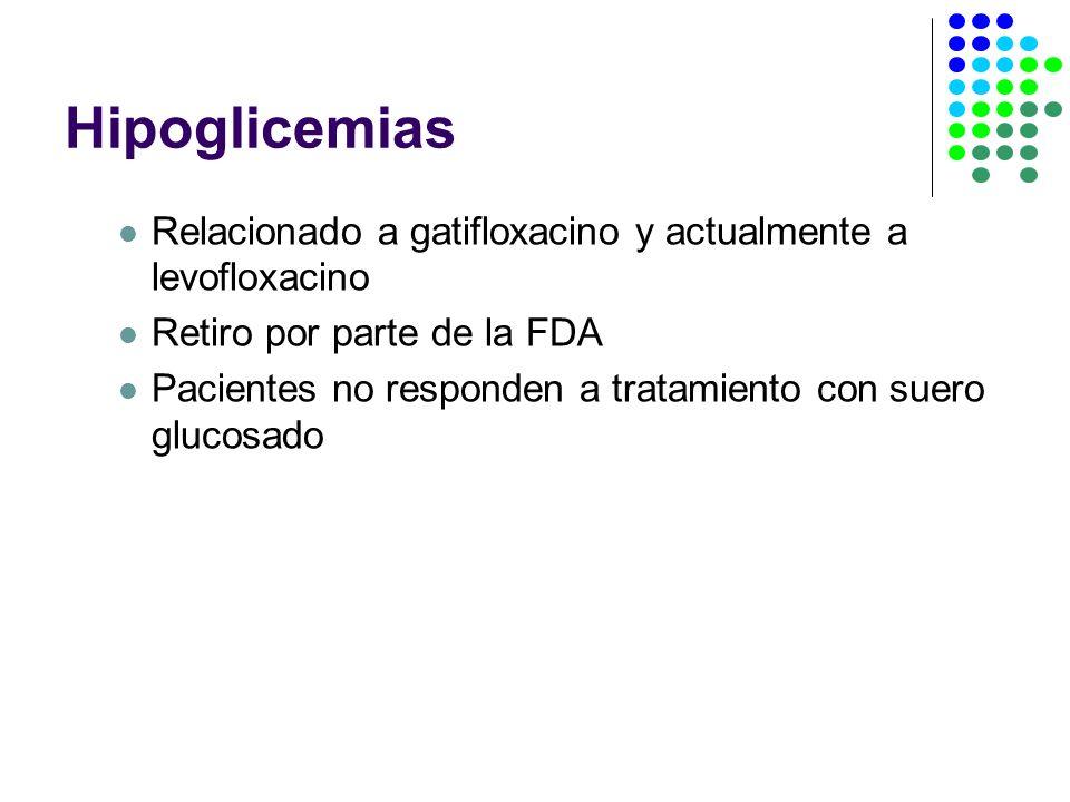 HipoglicemiasRelacionado a gatifloxacino y actualmente a levofloxacino. Retiro por parte de la FDA.