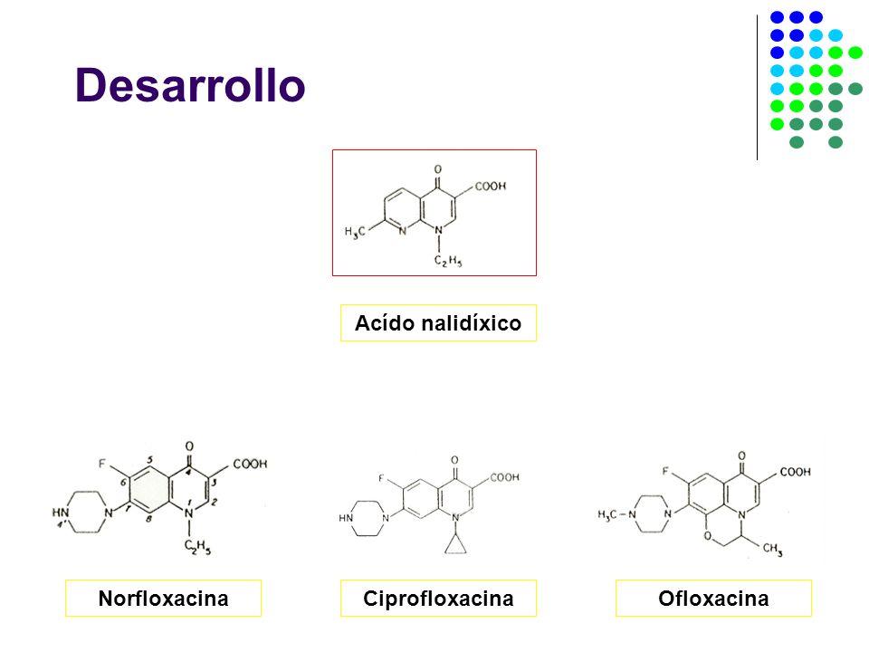 Desarrollo Acído nalidíxico Norfloxacina Ciprofloxacina Ofloxacina