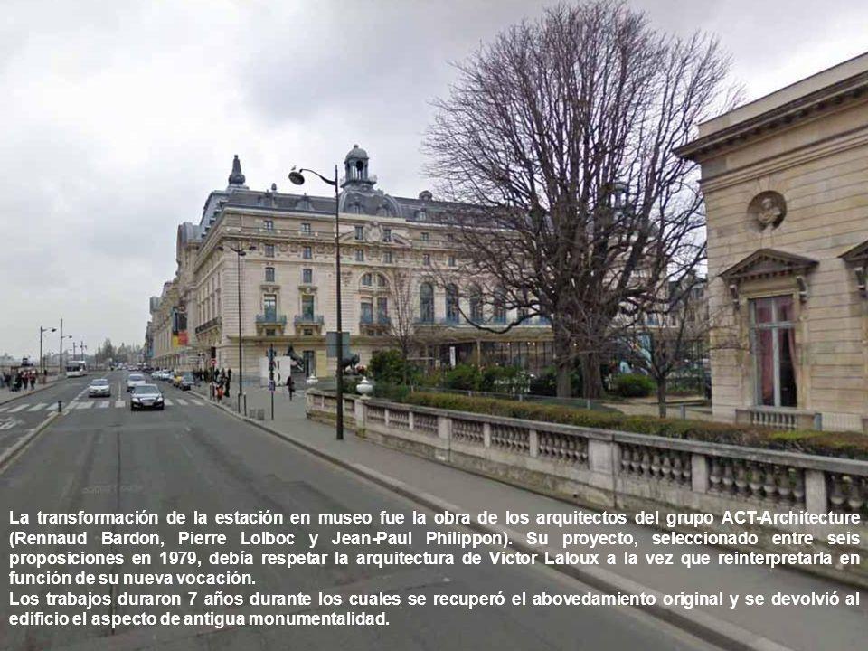 La transformación de la estación en museo fue la obra de los arquitectos del grupo ACT-Architecture (Rennaud Bardon, Pierre Lolboc y Jean-Paul Philippon). Su proyecto, seleccionado entre seis proposiciones en 1979, debía respetar la arquitectura de Victor Laloux a la vez que reinterpretarla en función de su nueva vocación.