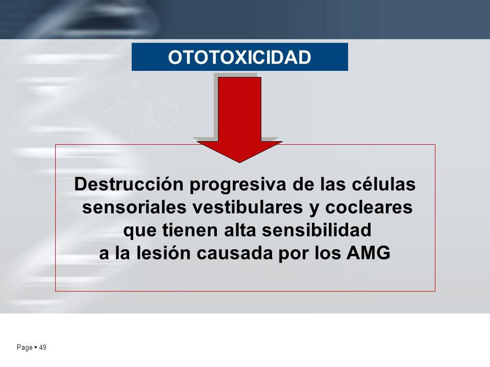Destrucción progresiva de las células