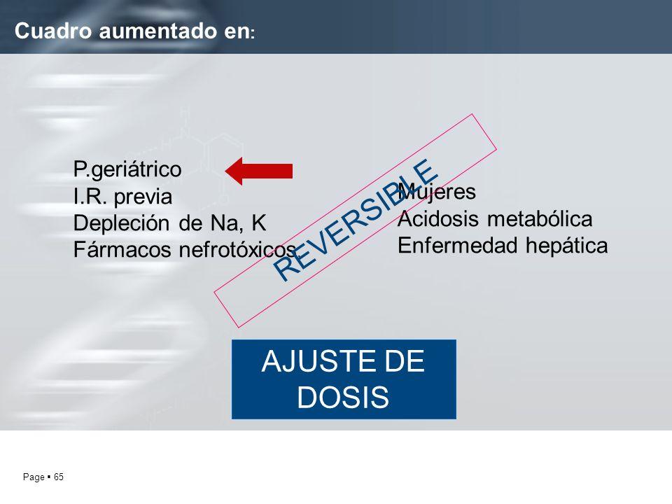 REVERSIBLE AJUSTE DE DOSIS Cuadro aumentado en: