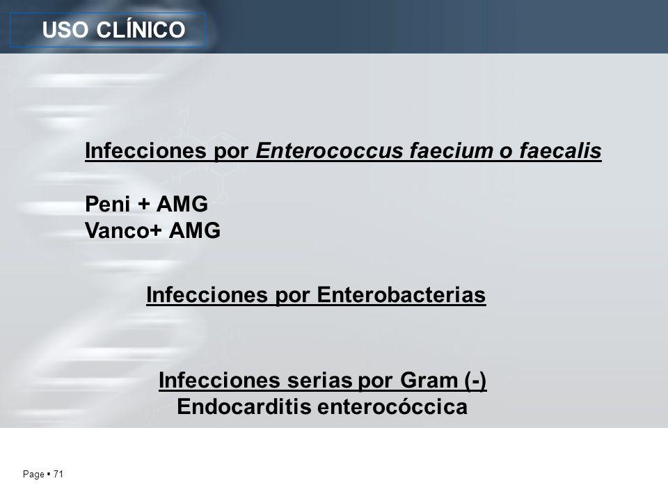 Infecciones serias por Gram (-) Endocarditis enterocóccica