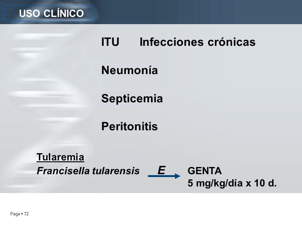 ITU Infecciones crónicas Neumonía Septicemia Peritonitis