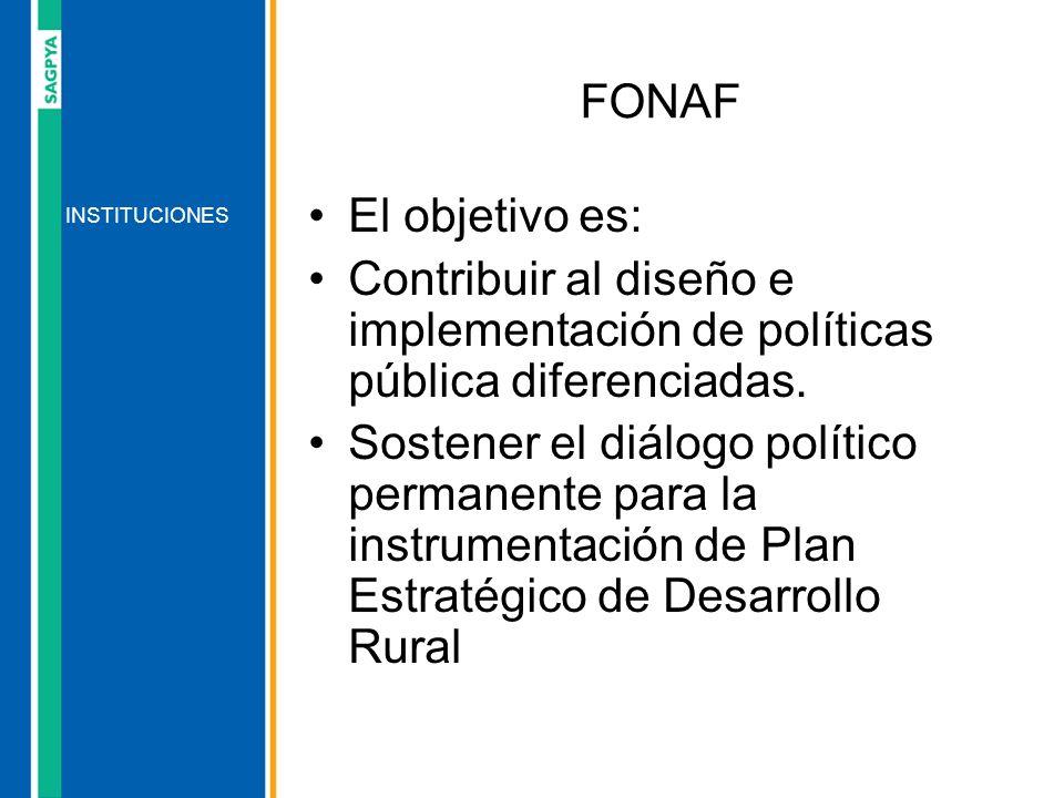 FONAF El objetivo es: Contribuir al diseño e implementación de políticas pública diferenciadas.