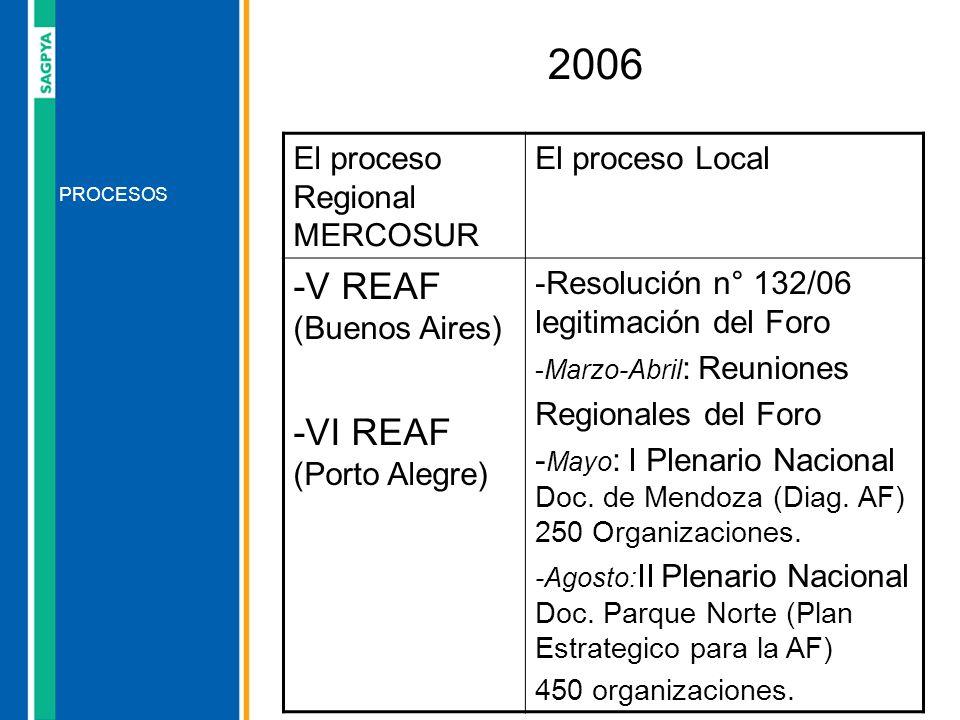 2006 -V REAF (Buenos Aires) -VI REAF (Porto Alegre)