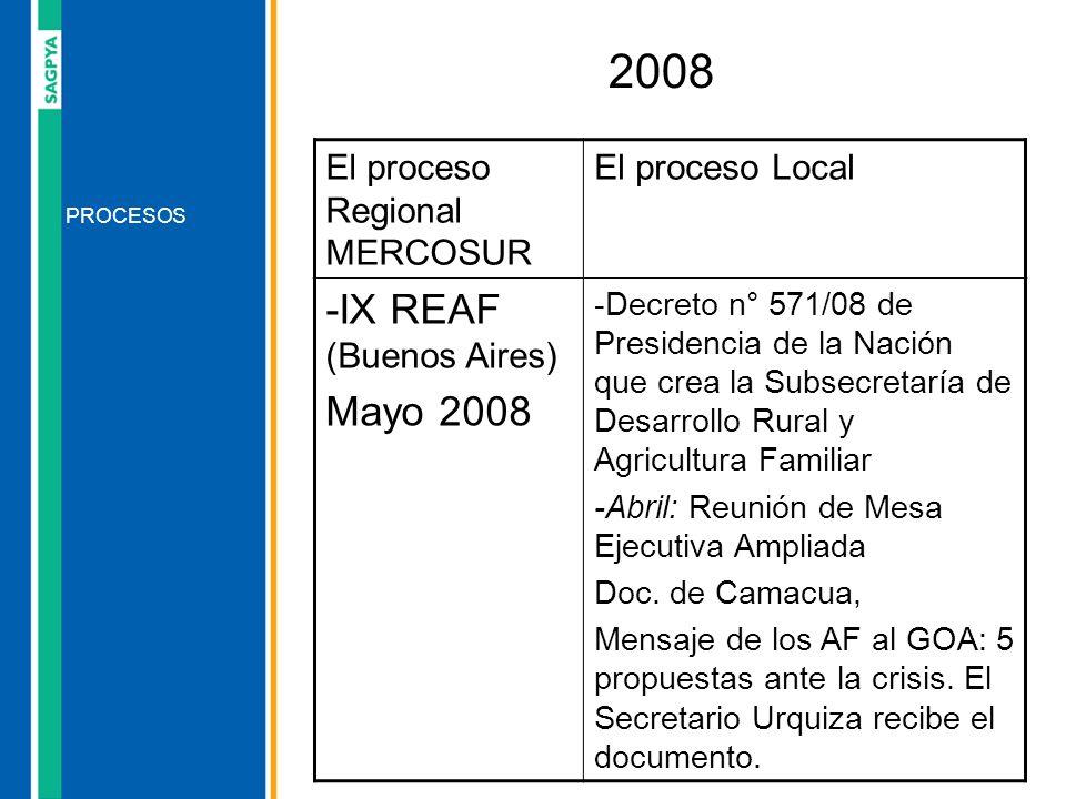 2008 -IX REAF (Buenos Aires) Mayo 2008 El proceso Regional MERCOSUR