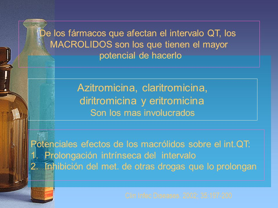 Azitromicina, claritromicina, diritromicina y eritromicina