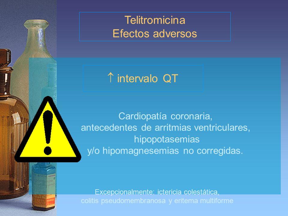 Telitromicina Efectos adversos  intervalo QT Cardiopatía coronaria,