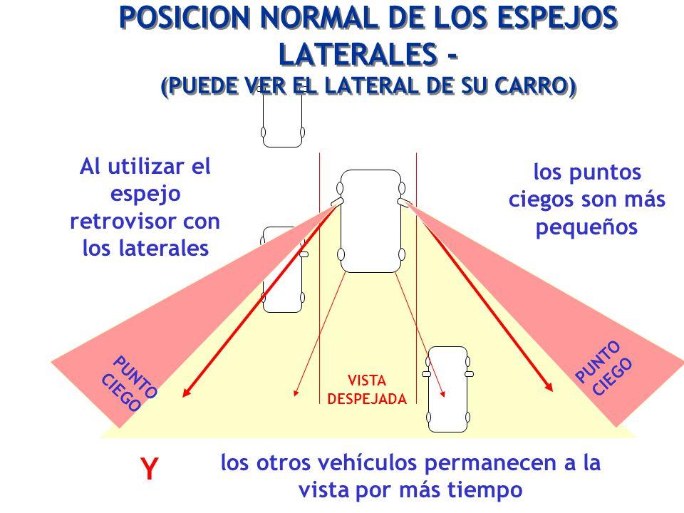 POSICION NORMAL DE LOS ESPEJOS LATERALES - (PUEDE VER EL LATERAL DE SU CARRO)