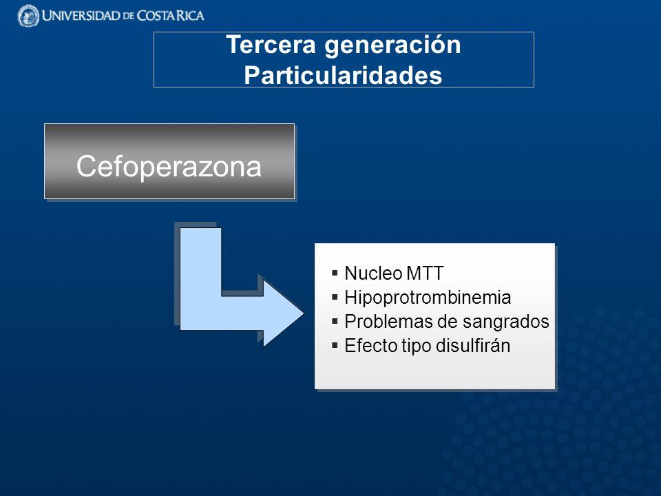 Cefoperazona Tercera generación Particularidades Nucleo MTT