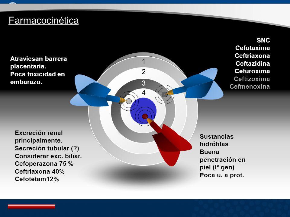 Farmacocinética 1 2 3 4 SNC Cefotaxima Ceftriaxona