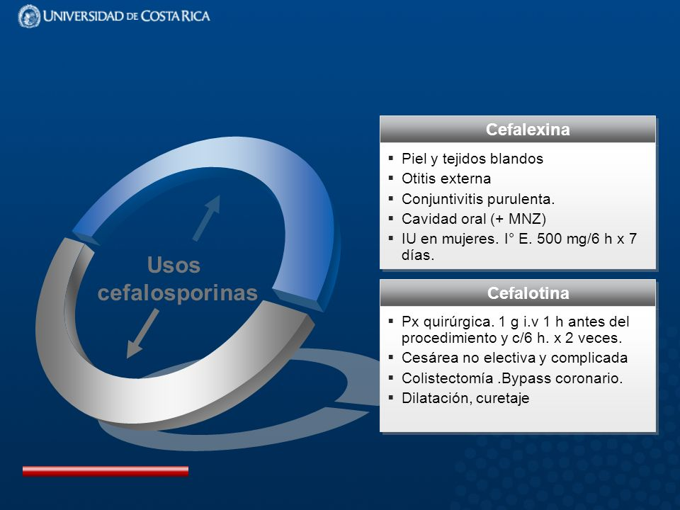 Usos cefalosporinas Cefalexina Cefalotina Piel y tejidos blandos