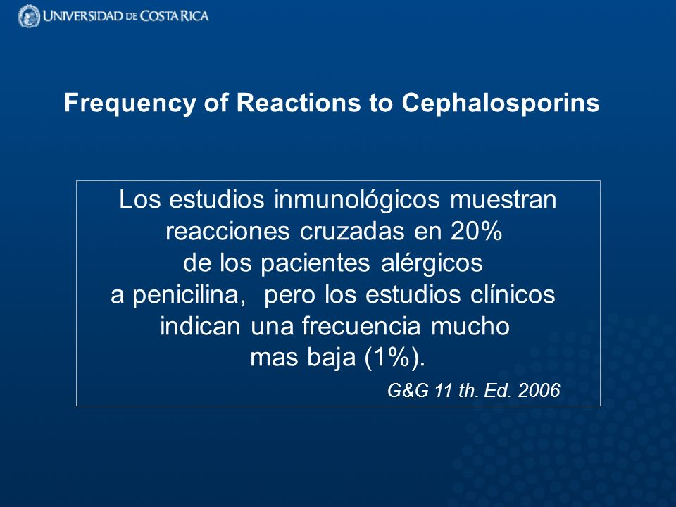 Frequency of Reactions to Cephalosporins