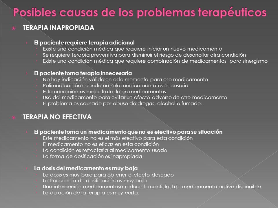 Posibles causas de los problemas terapéuticos