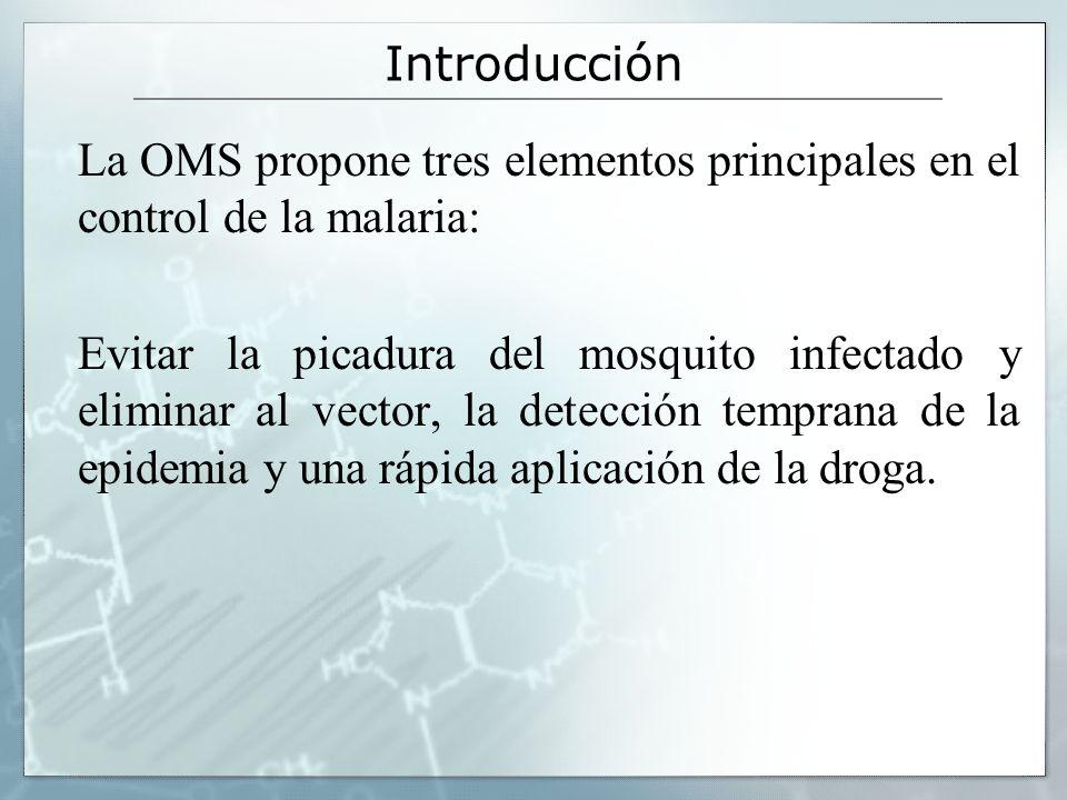 Introducción La OMS propone tres elementos principales en el control de la malaria: