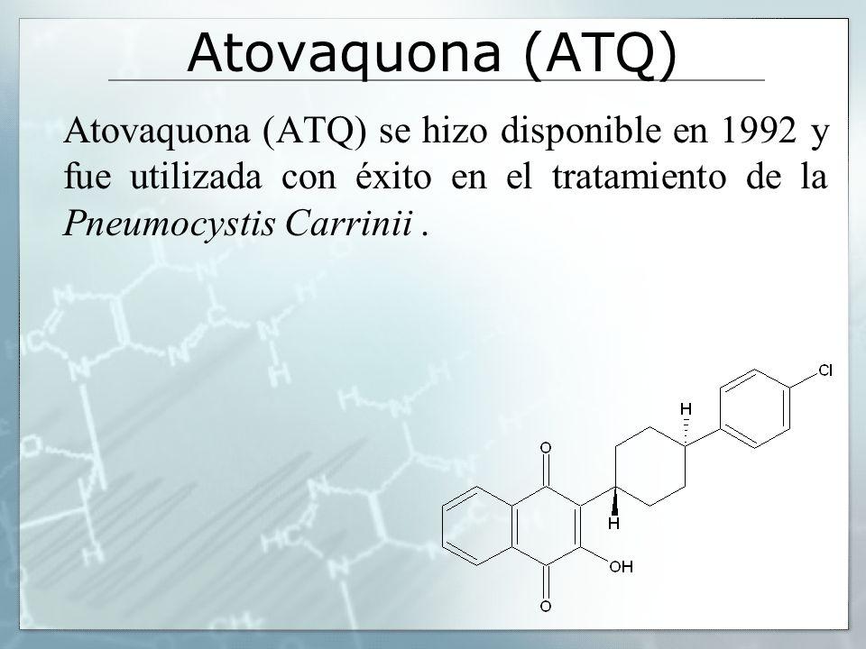 Atovaquona (ATQ) Atovaquona (ATQ) se hizo disponible en 1992 y fue utilizada con éxito en el tratamiento de la Pneumocystis Carrinii .