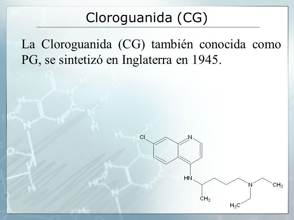 Cloroguanida (CG) La Cloroguanida (CG) también conocida como PG, se sintetizó en Inglaterra en 1945.