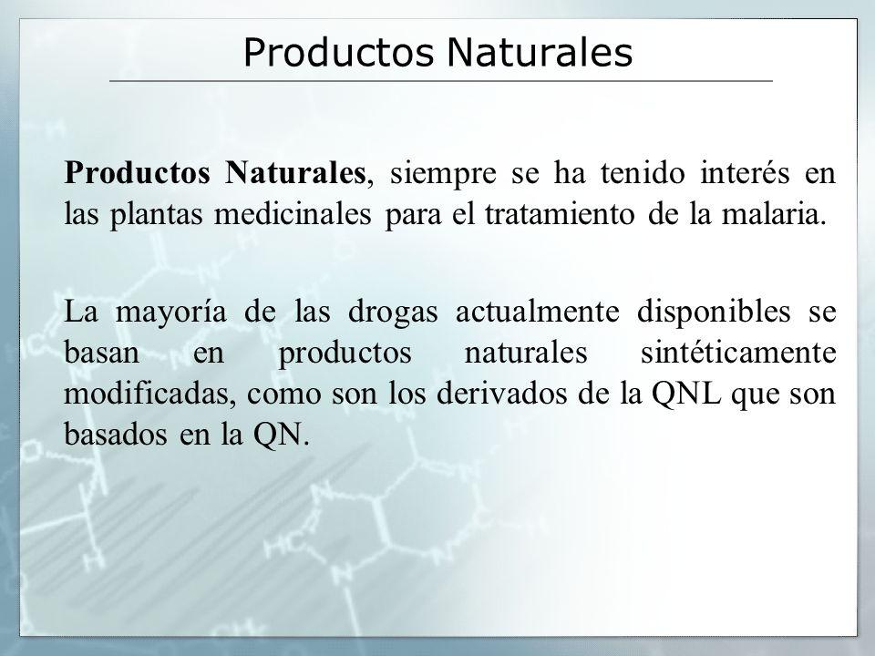 Productos Naturales Productos Naturales, siempre se ha tenido interés en las plantas medicinales para el tratamiento de la malaria.