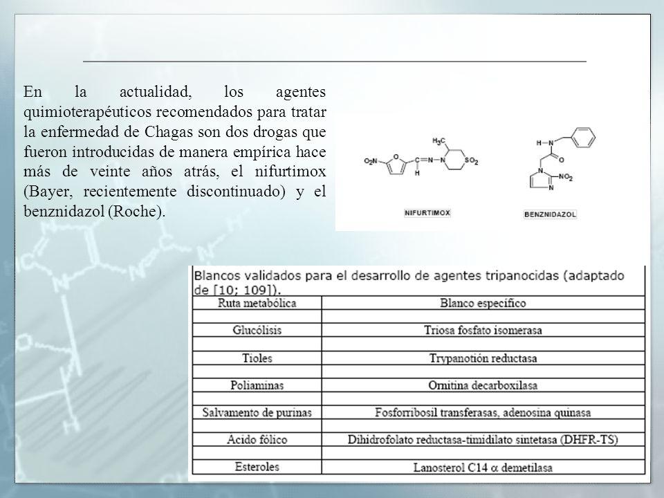 En la actualidad, los agentes quimioterapéuticos recomendados para tratar la enfermedad de Chagas son dos drogas que fueron introducidas de manera empírica hace más de veinte años atrás, el nifurtimox (Bayer, recientemente discontinuado) y el benznidazol (Roche).