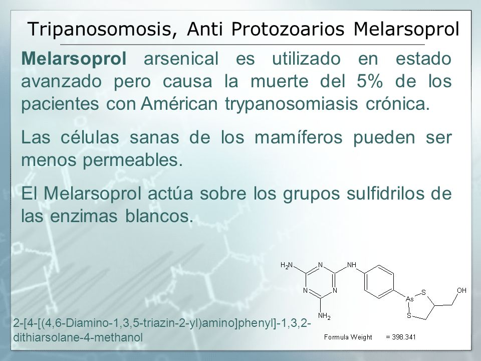 Tripanosomosis, Anti Protozoarios Melarsoprol