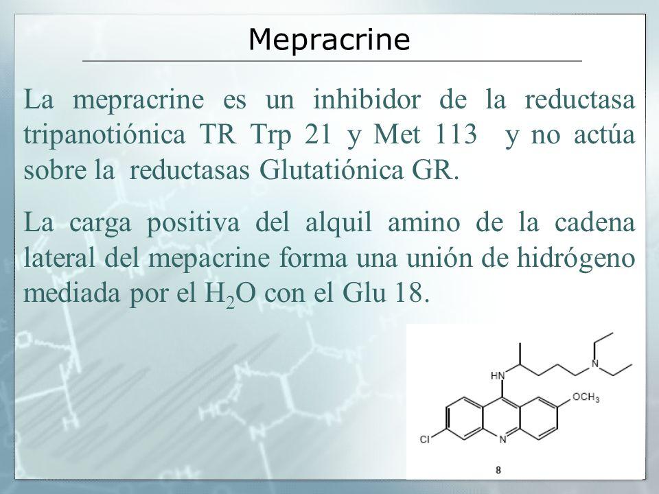 Mepracrine La mepracrine es un inhibidor de la reductasa tripanotiónica TR Trp 21 y Met 113 y no actúa sobre la reductasas Glutatiónica GR.