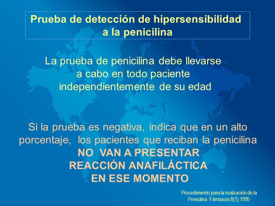 Prueba de detección de hipersensibilidad REACCIÓN ANAFILÁCTICA