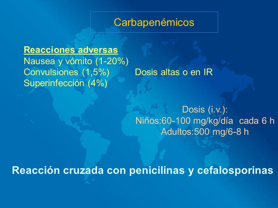 Reacción cruzada con penicilinas y cefalosporinas