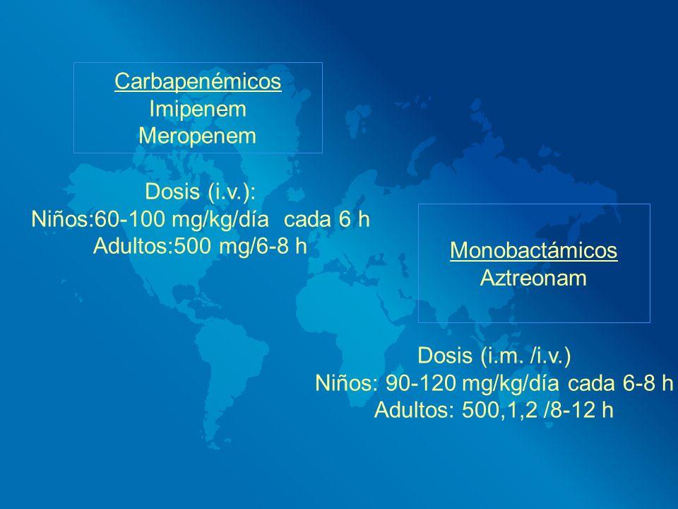 Niños:60-100 mg/kg/día cada 6 h Adultos:500 mg/6-8 h Monobactámicos