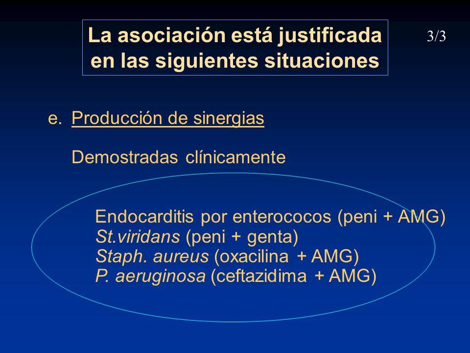 La asociación está justificada en las siguientes situaciones