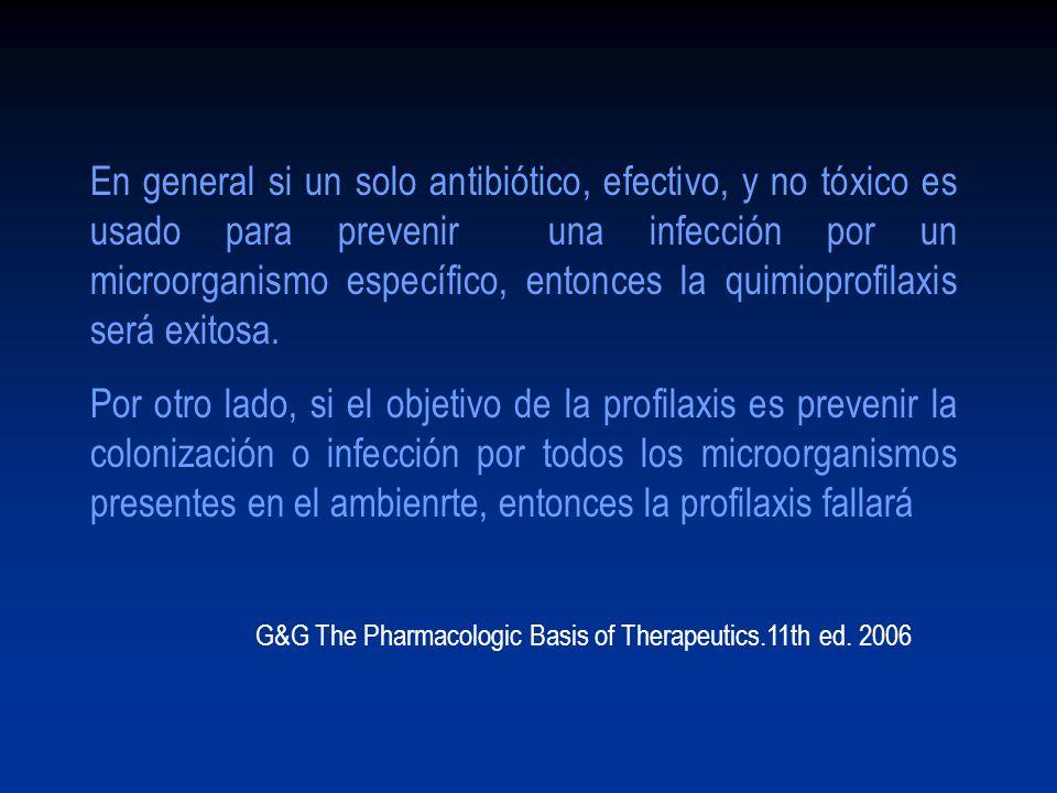 En general si un solo antibiótico, efectivo, y no tóxico es usado para prevenir una infección por un microorganismo específico, entonces la quimioprofilaxis será exitosa.