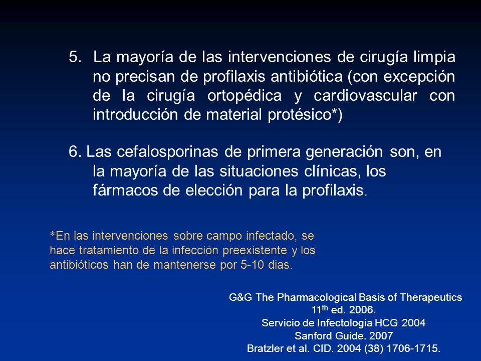 5. La mayoría de las intervenciones de cirugía limpia no precisan de profilaxis antibiótica (con excepción de la cirugía ortopédica y cardiovascular con introducción de material protésico*)