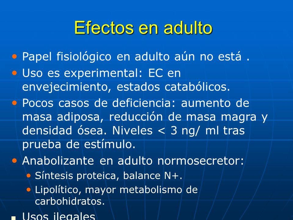 Efectos en adulto Papel fisiológico en adulto aún no está .