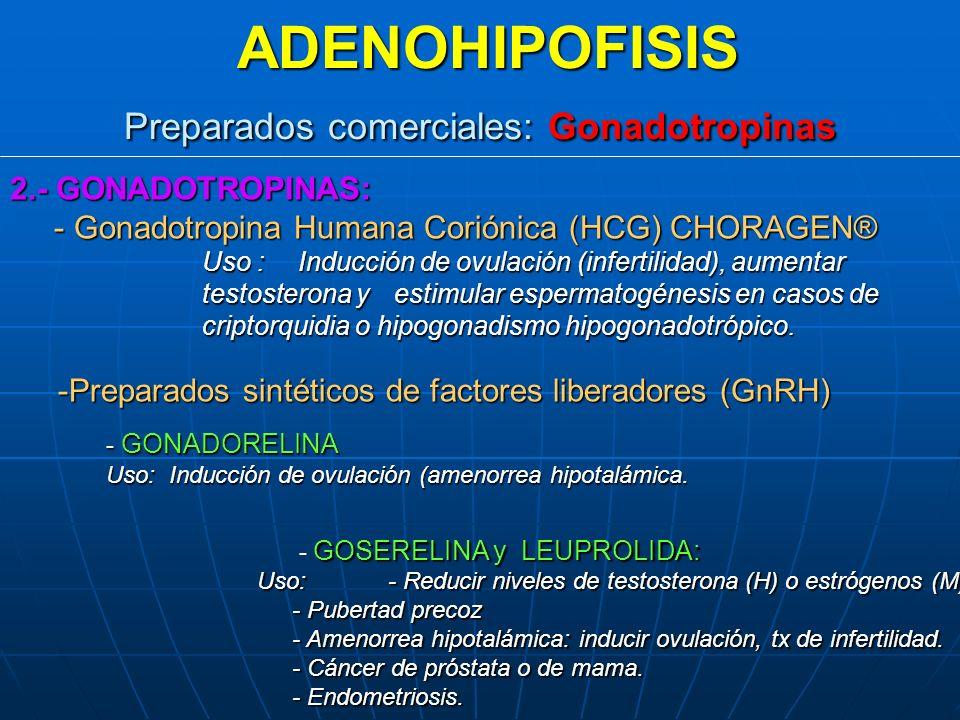ADENOHIPOFISIS Preparados comerciales: Gonadotropinas