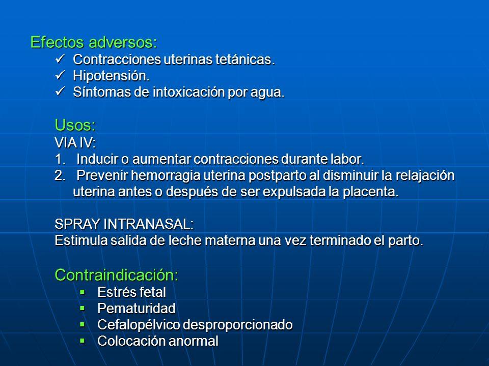 Efectos adversos: Usos: Contraindicación: