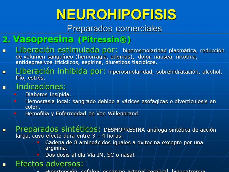 NEUROHIPOFISIS Preparados comerciales
