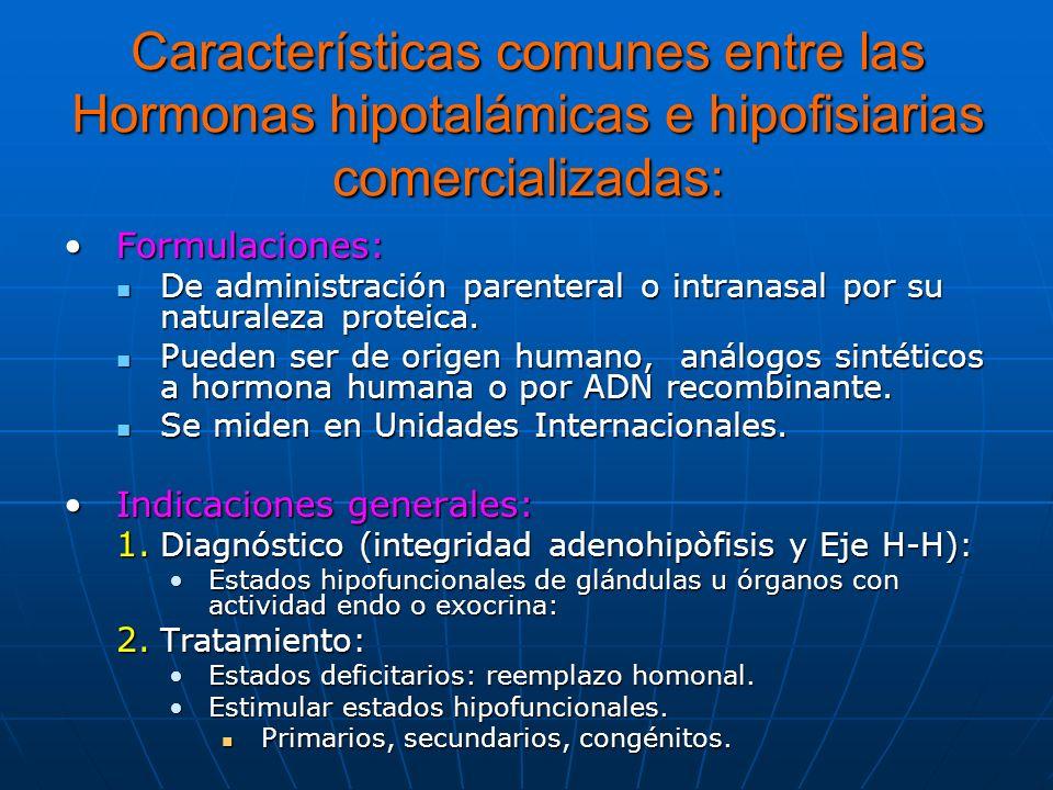 Características comunes entre las Hormonas hipotalámicas e hipofisiarias comercializadas: