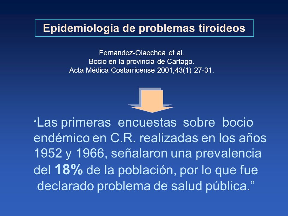 Epidemiología de problemas tiroideos