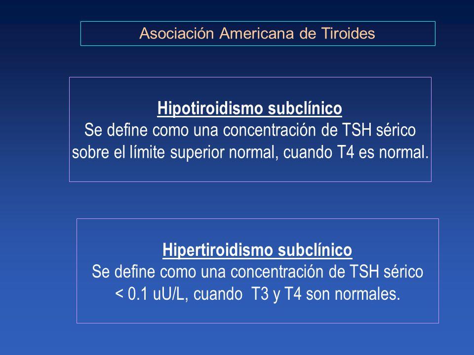 Hipotiroidismo subclínico Hipertiroidismo subclínico