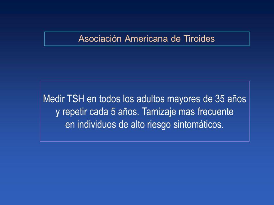 Medir TSH en todos los adultos mayores de 35 años