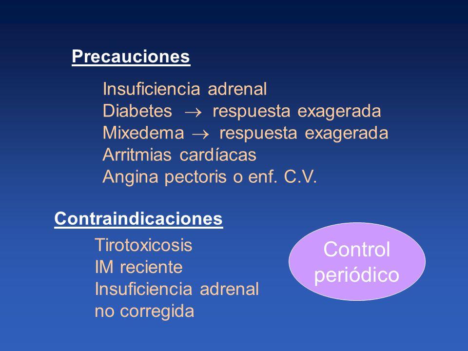 Control periódico Precauciones Insuficiencia adrenal