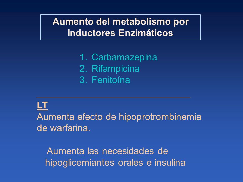 Aumento del metabolismo por Inductores Enzimáticos