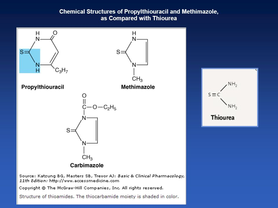 Chemical Structures of Propylthiouracil and Methimazole,
