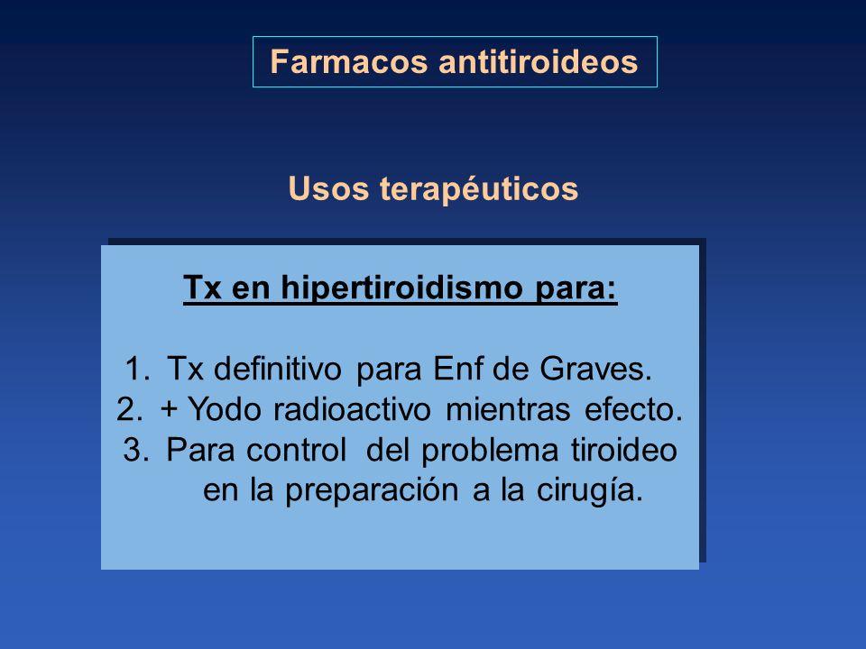 Farmacos antitiroideos Tx en hipertiroidismo para:
