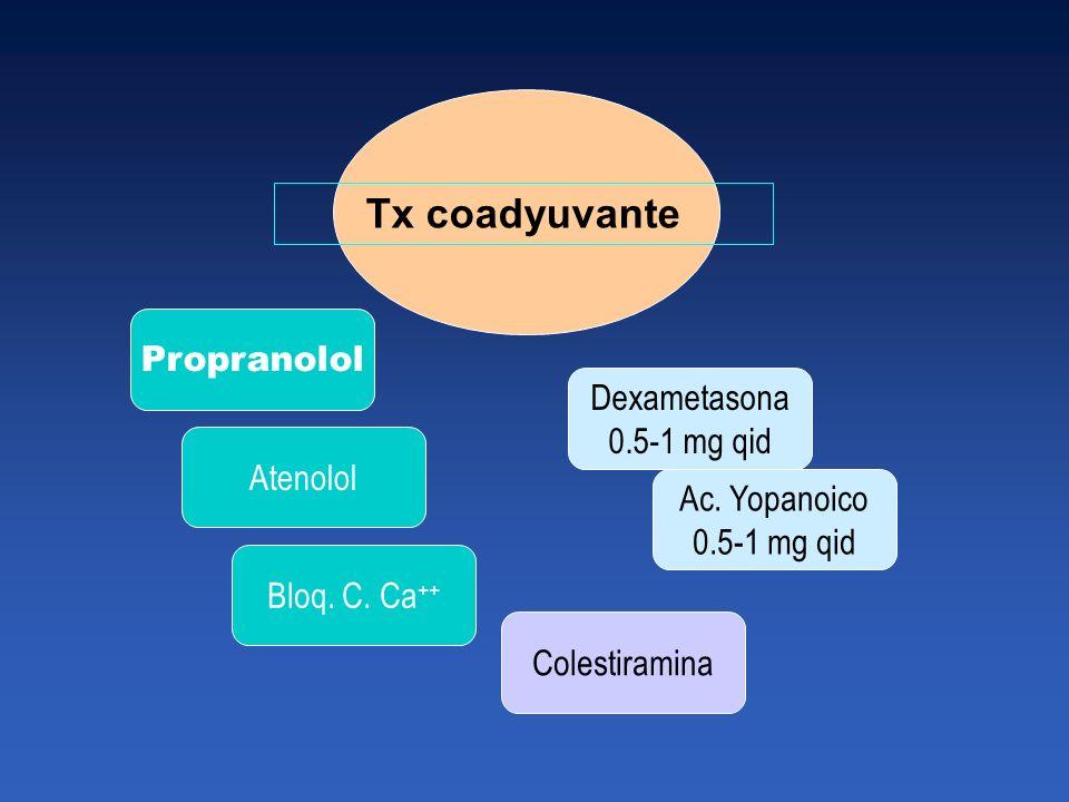 Tx coadyuvante Propranolol Dexametasona 0.5-1 mg qid Atenolol