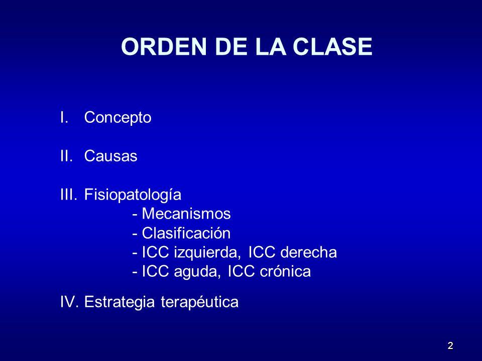ORDEN DE LA CLASE Concepto Causas Fisiopatología - Mecanismos