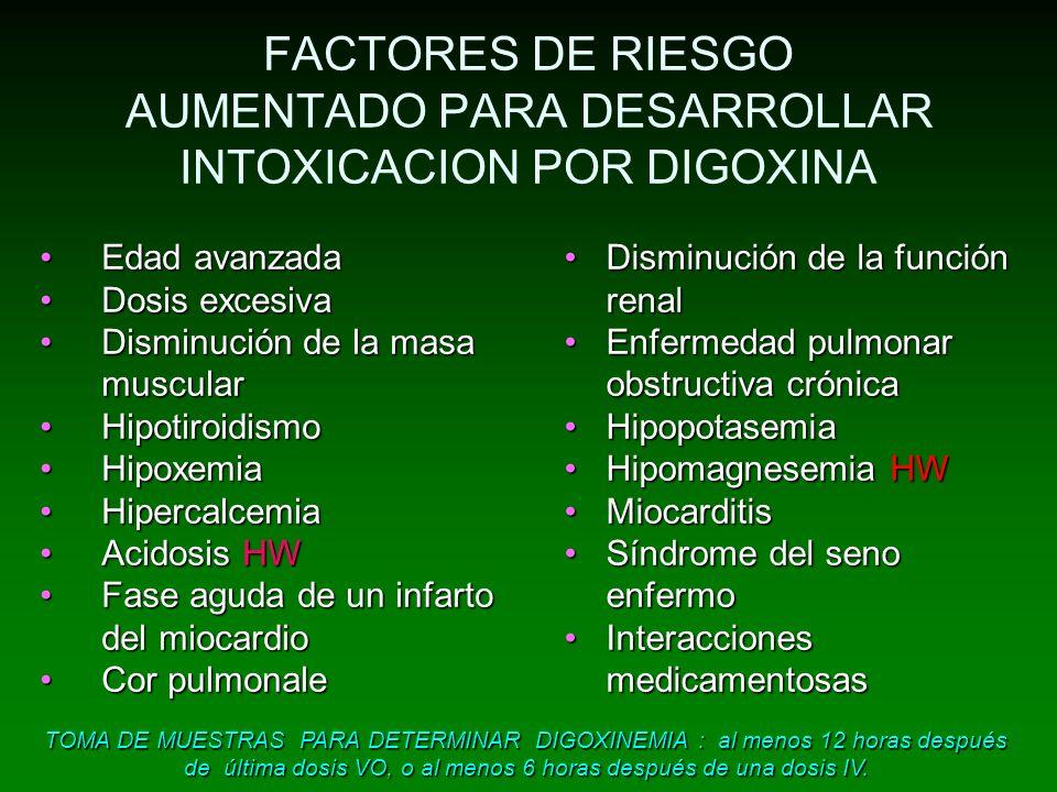 FACTORES DE RIESGO AUMENTADO PARA DESARROLLAR INTOXICACION POR DIGOXINA